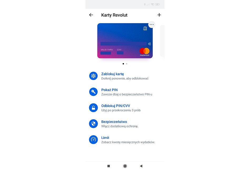 revolut karta płątnicza aplikacja mobilna ustawienia
