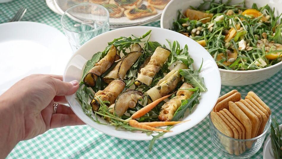 roladki z cukinii, wegetariańska przystawka, przepis