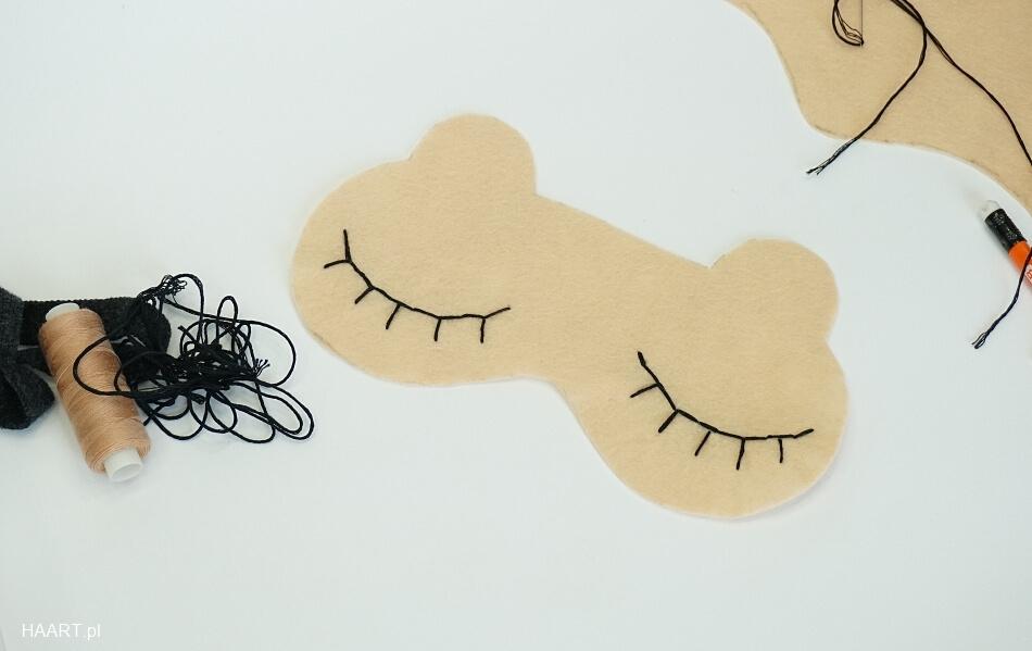 Opaska na oczy do spania z filcu wyszywanie rzęs