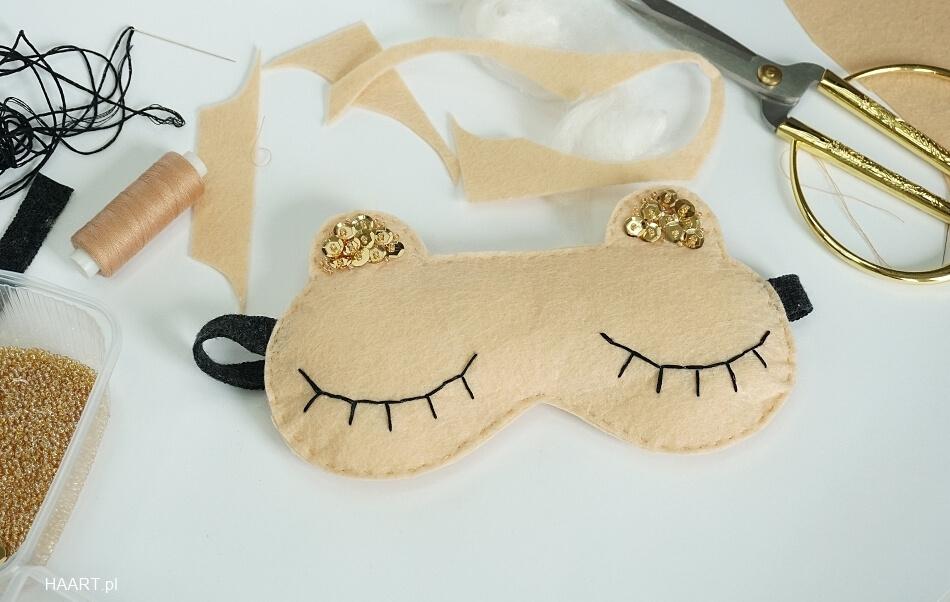 opaska na oczy do spania z filcu z uszami na gumce, instrukcja i szablon diy