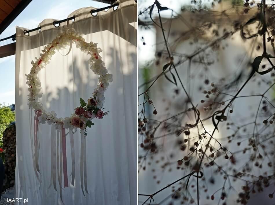 koło z kwiatami na ślub