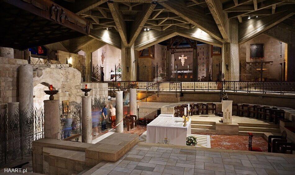 wnętrze bazyliki nazaret izrael