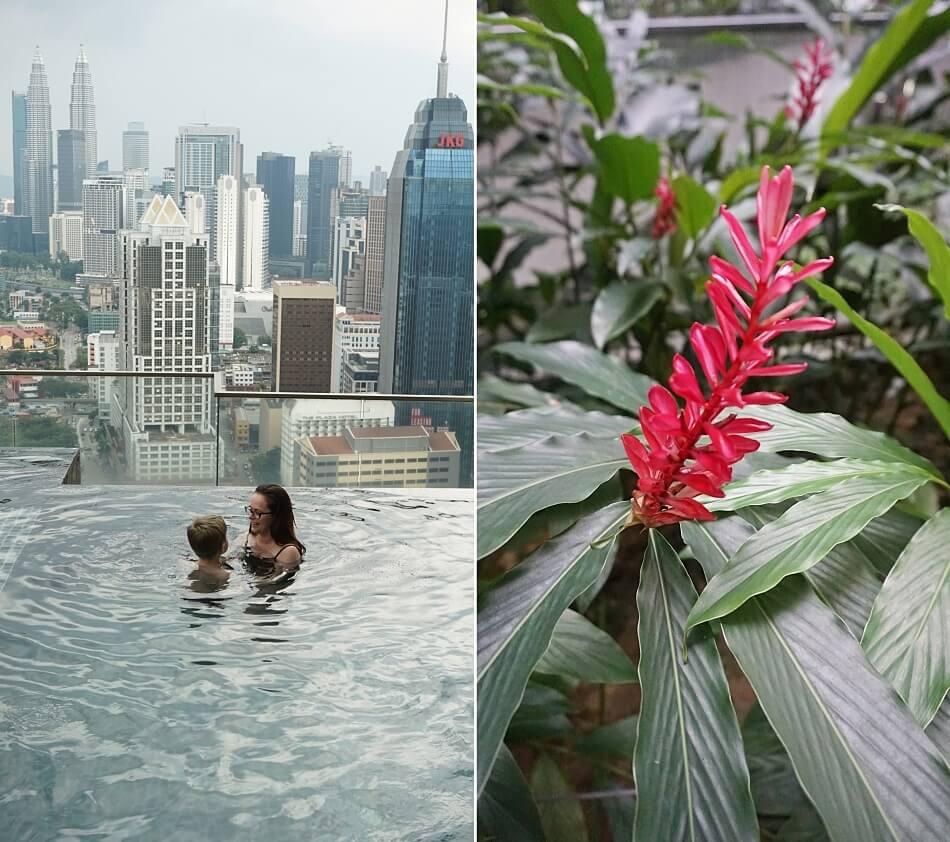 Basen na 37 piętrze regalia suite, Kuala Lumpur, panorama miasta
