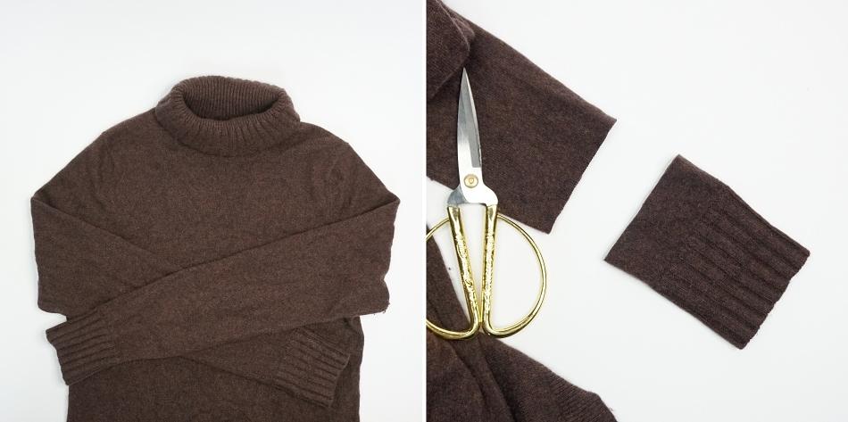 odcinanie mankietu swetra