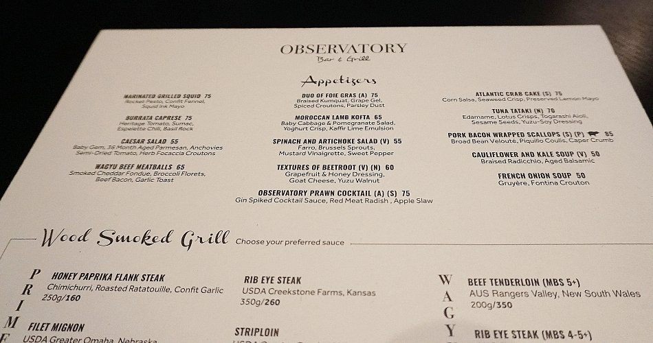 menu the observatory restaurant bar dubai marina marriott