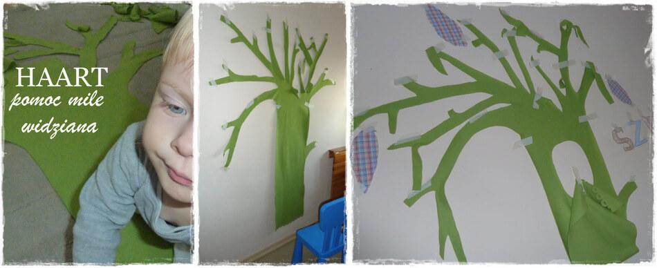 rysunek na ścianie w dziecięcym pokoju motyw drzewa