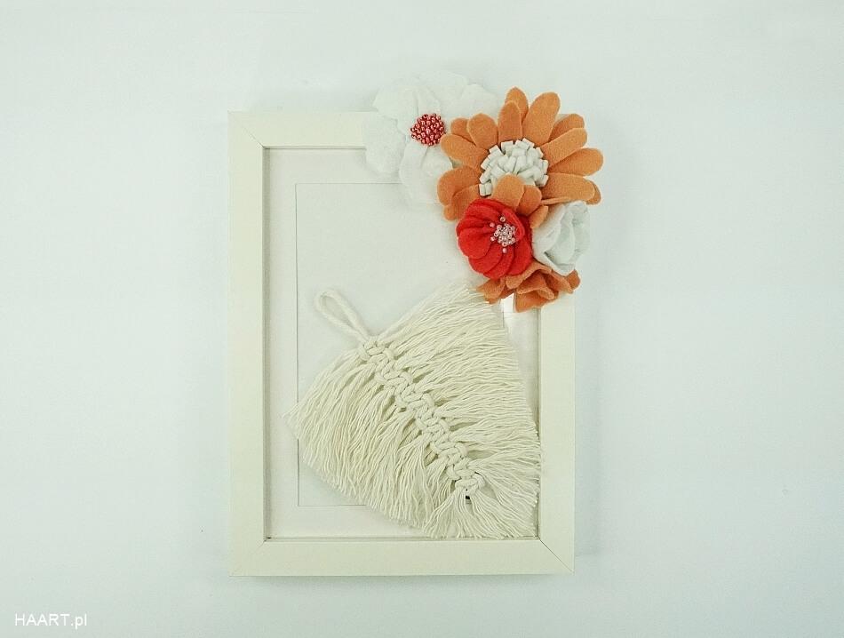 dekoracje z białego sznurka, liść ze sznurka w ramie