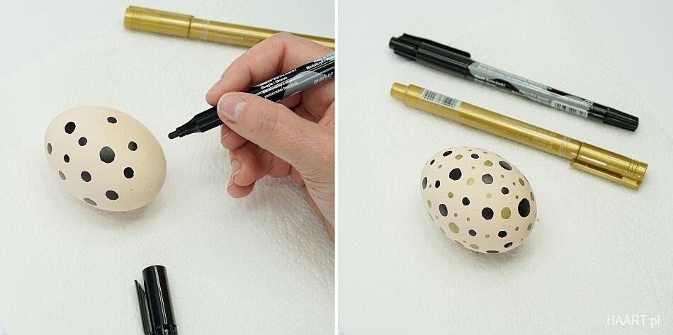 pisanki malowane w kropeczki