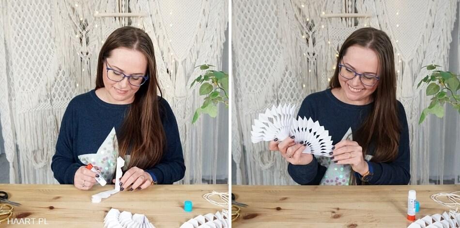 sklejanie papierowej rozety