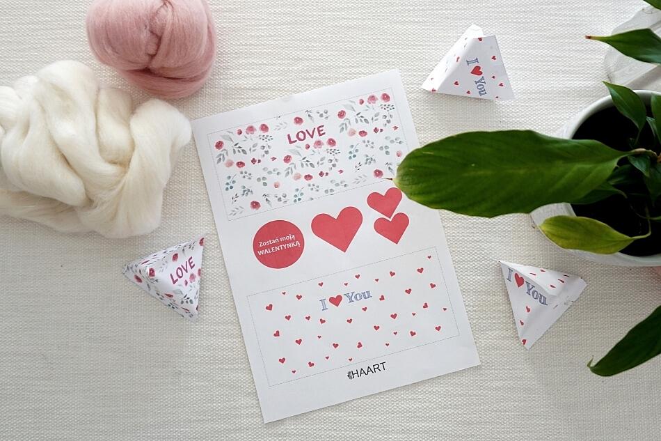szablon pudełka na Walentynki