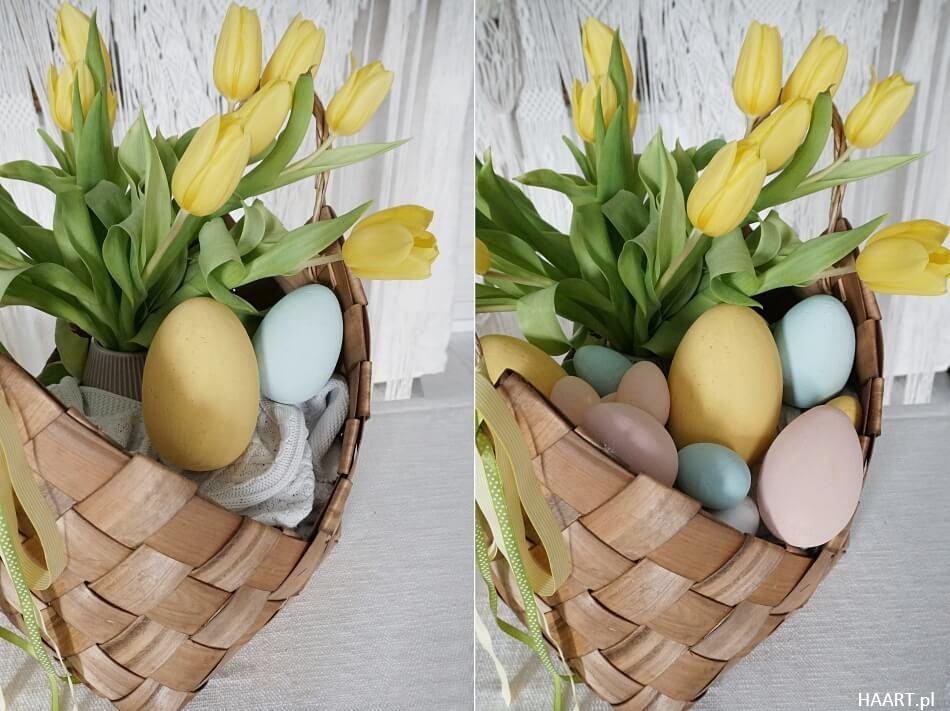 stroik na Wielkanoc w koszu