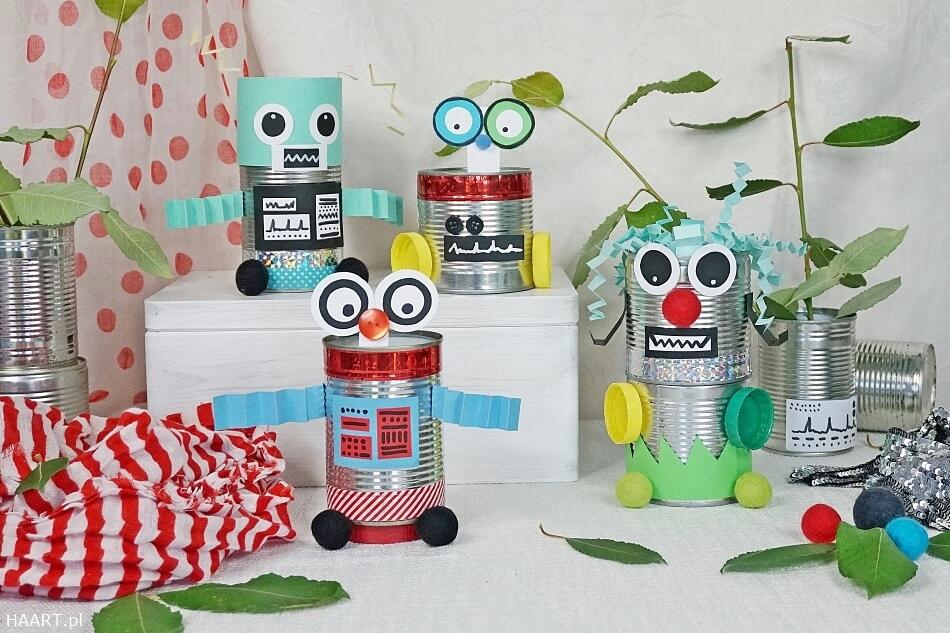 zabawa roboty z puszek